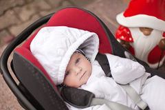Lovely little baby in car seat Royalty Free Stock Photo