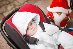 Lovely little baby in car seat Royalty Free Stock Images
