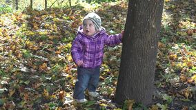 Lovely little baby girl standing near tree trunk and falling autumn leaves. 4K stock video footage