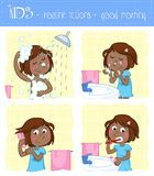 Lovely little black girl and good morning routine actions stock illustration