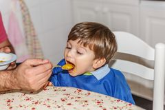 A lovely little blond boy eats carrot puree with much desire royalty free stock photo