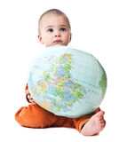 Lovely little boy with globe Royalty Free Stock Photography