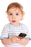 Lovely little boy with phone Stock Photography