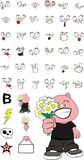 Lovely little chubby pig cartoon expressions set Royalty Free Stock Photos