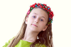 Lovely little dancer posing with wreath, close-up Stock Images