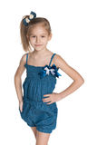 Lovely little girl against the white Royalty Free Stock Images