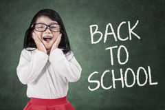 Lovely little girl back to school Stock Photo