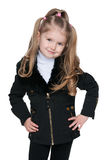 Lovely little girl in the black jacket Royalty Free Stock Photo