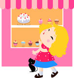 Lovely little girl and cat looked at the window of. Illustration of lovely little girl and cat looked at the window of the cake Stock Image