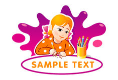 Lovely little girl drawing. Cartoon smiling little girl drawing with a pencil. Vector illustration Stock Photo