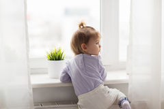 Lovely little girl at home window. Childhood, kids and people concept - lovely little girl at home window royalty free stock photography