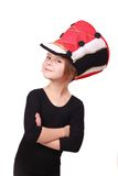 Lovely little girl in a hussar hat Royalty Free Stock Photography