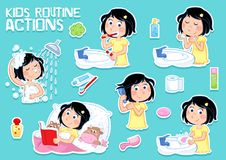 Lovely little girl and hygiene - daily routine - set of six clipart illustrations. Cute cartoon illustration - set of six daily routines - hygiene - little girl stock illustration