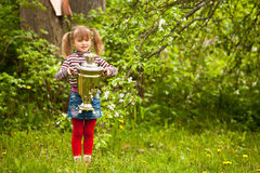 Lovely little girl posing with the Russian Samovar Royalty Free Stock Images