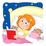 Lovely little girl reading a bedtime story to her toys. Jpeg image - 300 dpi - RGB Royalty Free Stock Photo