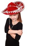 Lovely little girl in a red cowboy hat Royalty Free Stock Photo