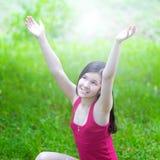 Lovely little girl smiling. In summer park stock photography