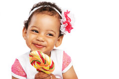 Lovely Little Girl With A Big Lollipop Stock Image