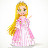 Lovely little princess in a tiara and a pink ball  Stock Photo