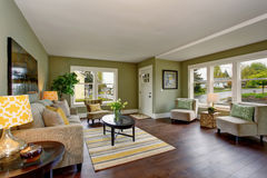Lovely living room with green and yellow theme. Royalty Free Stock Image