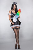 Lovely maid with a duster eye contact Royalty Free Stock Photo