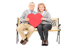 Lovely mature couple holding big red heart Royalty Free Stock Image