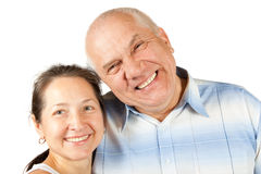 Lovely mature couple poising on white in studio Royalty Free Stock Photos