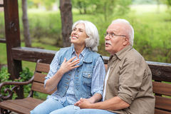 Lovely mature man and woman dating outdoors Stock Photography
