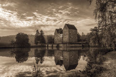 Lovely medieval water castle Brennhausen Stock Photos