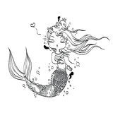 Lovely Mermaid for Coloring Royalty Free Stock Images