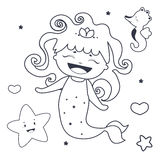 Lovely Mermaid and friends  Coloring book Royalty Free Stock Photo