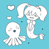 Lovely Mermaid and Octopus  Coloring book Stock Photo