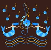 Lovely mermaids with blue hair hold a treble clef over the waves in the form of musical rulers. Flowers in the shape of musical notes fall from the sky vector illustration