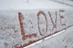 Lovely message on a bench. Somebody wrote the feeling of love on a bench in Budapest, Hungary Stock Images