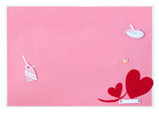 Lovely message board. With red heart shape Royalty Free Stock Images