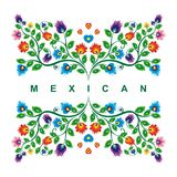 Lovely Mexican ethnic Floral decoration design. With colorful flowers frame design, suitable for wedding or party invitation, greeting card, Embroidered cloth stock illustration