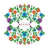 Lovely Mexican ethnic Floral decoration design. With colorful flowers frame design, suitable for wedding or party invitation, greeting card, Embroidered cloth royalty free illustration