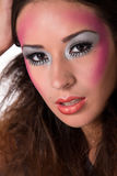 Lovely mixed raced girl with extreme make-up stock photo