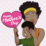 Lovely Mom and Son with Commemorative Sign for Mother's Day, Vector Illustration Royalty Free Stock Photos
