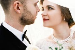 Lovely moment of the young couple in the wedding day royalty free stock photography