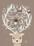Lovely moose design Christmas card or poster Stock Photos