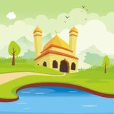 Lovely mosque, with scenery landscape design royalty free illustration