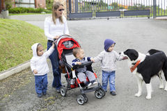 Lovely Mother with Her Children And Dog Stock Images