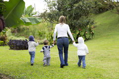 Lovely Mother With Her Children Outdoors Royalty Free Stock Photos