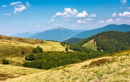 Lovely mountainous landscape in early autumn. Lovely mountainous landscape in summer. scenery with forested hills and grassy meadow under the blue sky with Royalty Free Stock Images