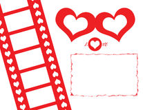 Lovely Movie PhotoFrame. This is a lovely movie photoframe. In the white spaces into the hearts, and into the movie, you can put the photos of you and your stock illustration