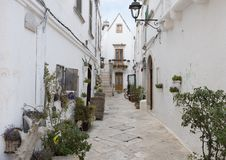 Lovely narrow street in the village of Locorotondo, southern Italy. Pictured is a lovely narrow street in the village of Locorotondo.  It is decorated with Stock Photography