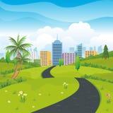 Nature Landscape with City background. Lovely Nature Landscape with magnificent building on the City background royalty free illustration