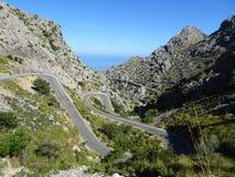 Curvy street on the way to Sa Calobra, Mallorca. Lovely nature on the way to Sa Calobra, Mallorca Royalty Free Stock Photography