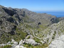 Curvy street on the way to Sa Calobra, Mallorca. Lovely nature on the way to Sa Calobra, Mallorca Royalty Free Stock Photo